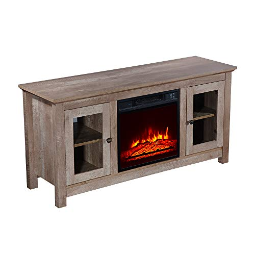 """ROVSUN Electric Fireplace TV Stand w/Remote & Side Cabinets, for TVs up to 51""""W, Heater w/Realistic Flame..."""