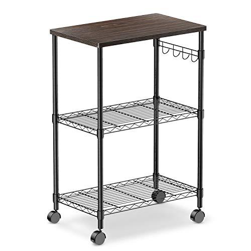 alvorog 3-Tier Rolling Kitchen Cart, Microwave Cart on Wheels Baker Rack with Adjustable Storage Shelves...