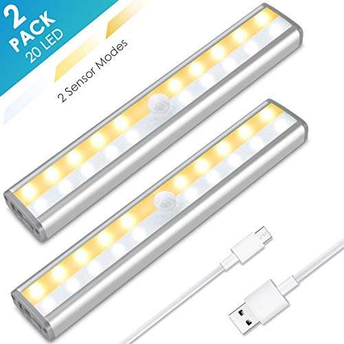 Under Cabinet Lighting, MOICO 3 Color Modes 20 LED Wireless Motion Sensor Closet Lights Rechargeable Magnetic...