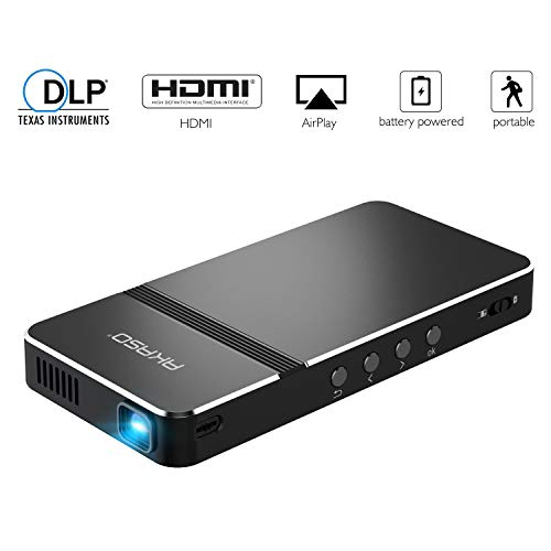 AKASO Mini Projector, Pocket-Sized DLP Portable Projector, 50 ANSI Lumens Video Projector, Support 1080P HDMI...