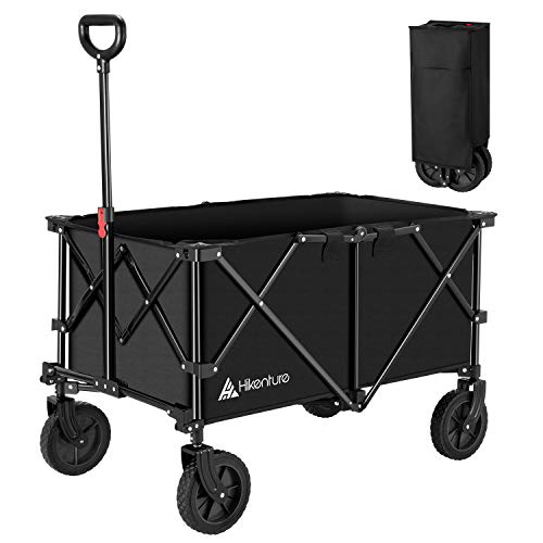 Hikenture Collapsible Wagon Cart - Portable Heavy Duty Beach Wagon - High Capacity Utility Grocery Cart with...