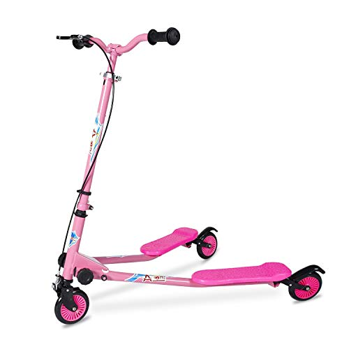 AODI Kids Foldable Swing Scooter Adjustable Height Kick Speeder Wiggle Scooters Self Push Drift for Boys/Girl/...