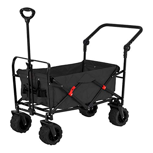 Black Wide Wheel Wagon All Terrain Folding Collapsible Utility Wagon with Push Bar - Portable Rolling Heavy...