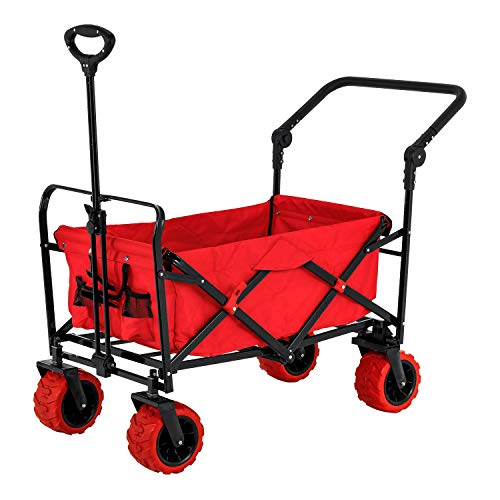 Red Wide Wheel Wagon All Terrain Folding Collapsible Utility Wagon with Push Bar - Portable Rolling Heavy Duty...