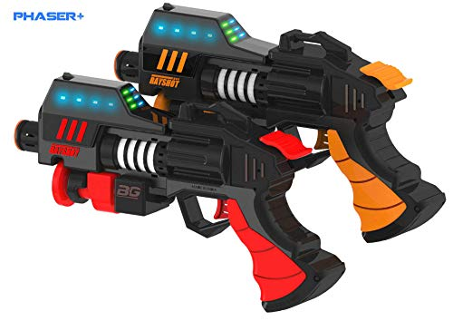 RAYSHOT Phaser+ Interactive Toy Gun Set with Advanced Game Effects (2 Pack, Red & Orange)