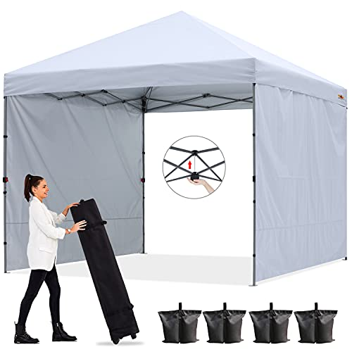ABCCANOPY Outdoor Easy Pop up Canopy Tent with 2 Sun Wall 10x10 Central Lock-Series, White