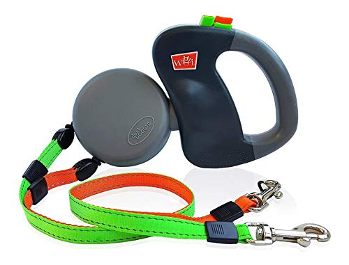 WIGZI (2) Two Dog Reflective Retractable Pet Leash – 360 Degree Zero Tangle Patent - Two Dogs Each up to 50...
