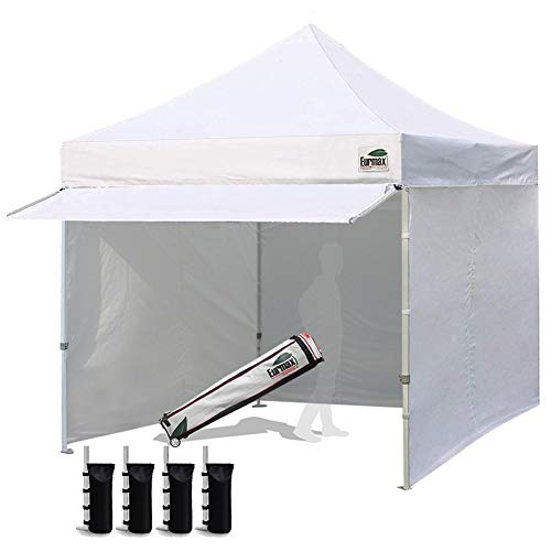 Eurmax 10 x 10 Pop up Canopy Commercial Tent Outdoor Party Canopies with 4 Removable Zippered Sidewalls and...