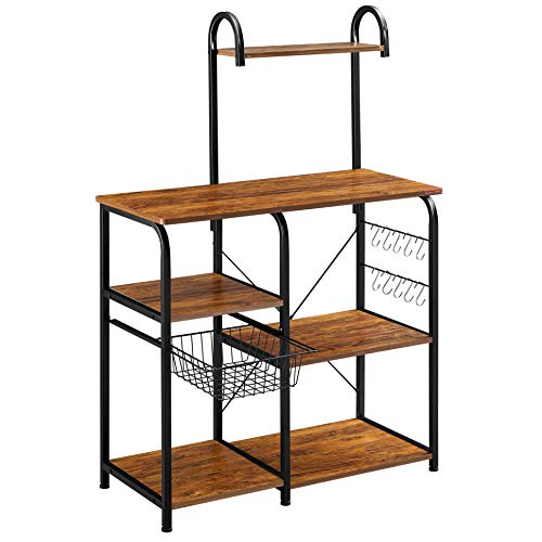 Mr IRONSTONE Vintage Kitchen Baker's Rack Utility Storage Shelf 35.5' Microwave Stand 4-Tier+3-Tier Shelf for...