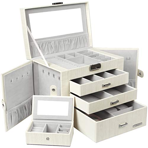Homde Jewelry Box for Women Girls with Small Travel Case Mirror Necklace Ring Earrings Organizer White Wood...