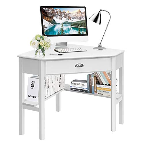 Tangkula White Corner Desk, Corner Computer Desk with Drawer, Wood Compact Home Office Desk, Laptop PC Table...