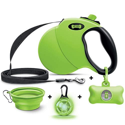 Ruff 'N Ruffus 360° Tangle-Free 16 ft Retractable Dog Leash + Free Travel Bowl + Free Waste Bag Dispenser &...
