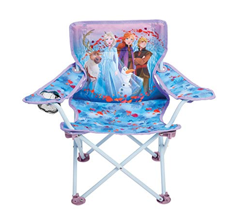 Foldable Camp Chair Frozen 2 Fold N Go Chair Sturdy Metal Construction (Easy To Open, Handy Cup Holder,...