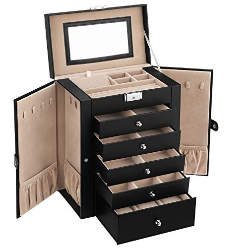 SONGMICS Jewelry Box, 6-Tier Large Jewelry Case with Drawers, Mirror and Lock, Storage Organizer for Bracelets...