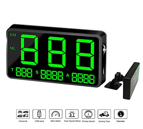 COOLOUS C80 Universal Hud Heads Up Display 4.5'' Large Screen Digital Speedometer Altitude Speed Projector...