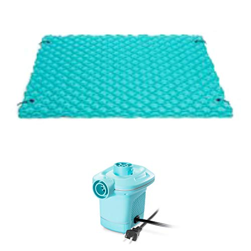 Intex Giant Inflatable Floating Mat • 9.5' x 7' • with Quickfill Electric Air Pump