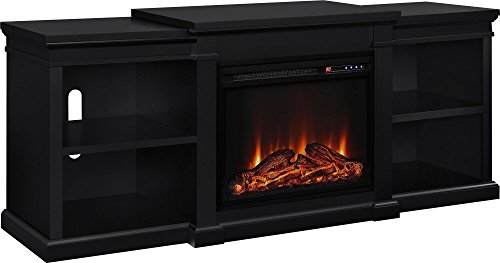 Ameriwood Home Manchester Electric Fireplace TV Stand for TVs up to 70', Black