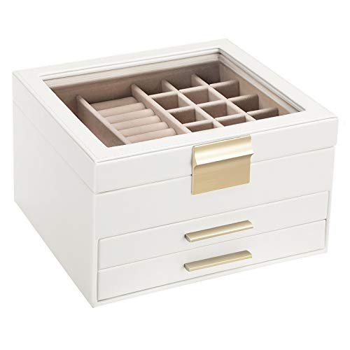 SONGMICS Jewelry Box with Glass Lid, 3-Layer Jewelry Organizer with 2 Drawers, Gift for Loved Ones, White...