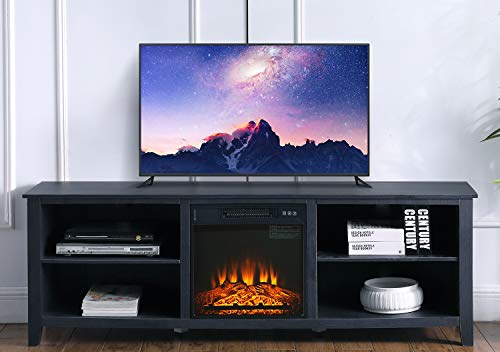 Ohuhu 70' Modern TV Stand with Electric Fireplace, 4 Storage Media Shelves, Flame Brightness Adjustable, Fast...