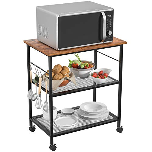 Homfio Kitchen Microwave Cart, Utility Rack, 3-Tier Baker's Rack, End/Side Office Shelf Vintage Rolling Cart...
