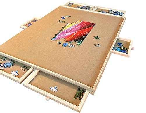 """1500 Piece Wooden Jigsaw Puzzle Table - 6 Drawers, 9 Glue Sheets & 3 Hangers 