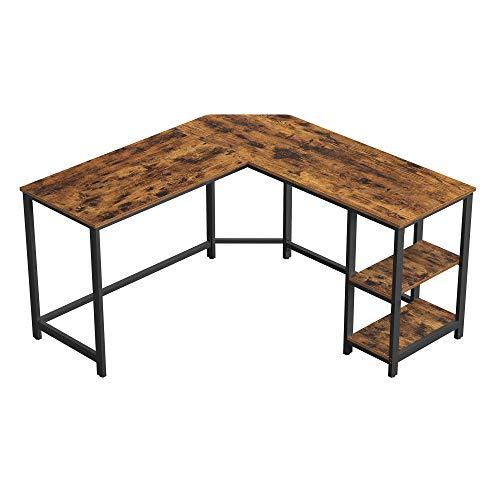 VASAGLE Computer Desk, 54-Inch L-Shaped Corner Desk, Writing Study Workstation with Shelves, Home Office,...