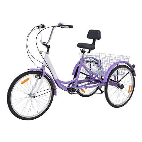MOPHOTO Adult Tricycles 7 Speed 26 Inch Three Wheel Bike Adult Trikes with Low-Step Through Frame/Large...