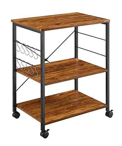 Mr IRONSTONE Kitchen Microwave Cart 3-Tier Kitchen Utility Cart Vintage Rolling Bakers Rack with 10 Hooks for...