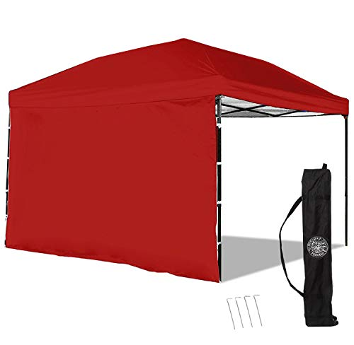 Punchau Pop Up Canopy Tent with Sidewall 10 x 10 Feet, Red - UV Coated, Waterproof Instant Outdoor Gazebo...