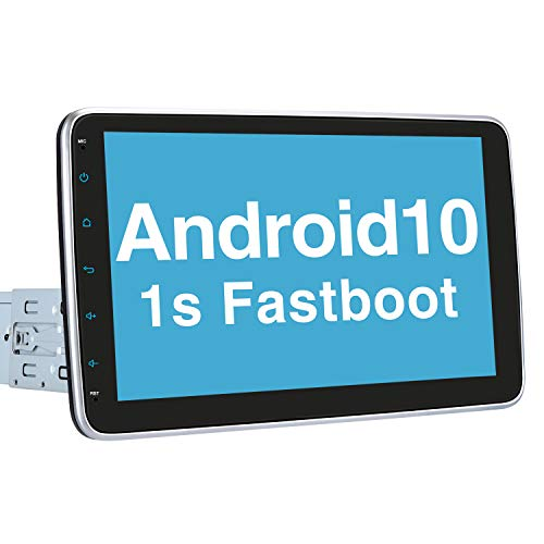 Vanku 10.1' Single Din Android 10 Car Stereo with Fastboot, GPS, WiFi, Support Android Auto, Backup Camera,...