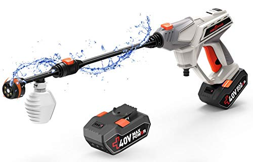 ROCKPALS Cordless Pressure Washer, 2 x 40V Batteries Max 870 PSI Power Washer with Accessories, Portable Power...