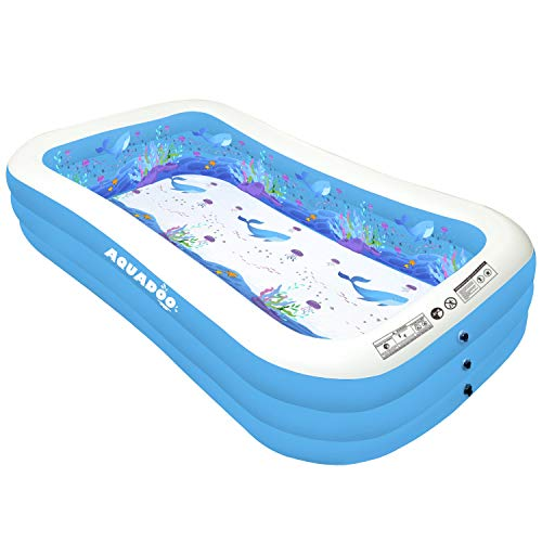 Aquadoo Family Swimming Inflatable Pool, 120' X 72' X 22' Full-Sized 0.4mm PVC Material Inflatable Lounge Pool...