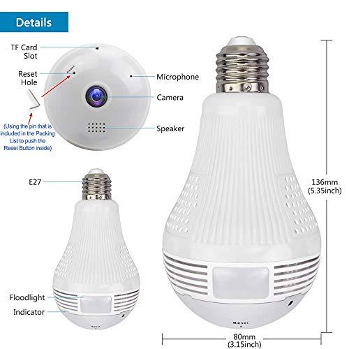 Light Camera Security 1080p WiFi Wireless Smart spy Bulb Camera Home Security Surveillance Video System Light...