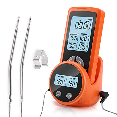 Wireless Meat Thermometer, Accurate Fast Read Digital Grill Thermometer with Dual Probes Temperature & Time...