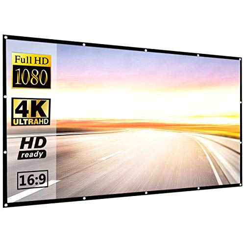 Projector Screen 120 inch 16:9 HD Foldable Anti-Crease Portable Projection Movies Screen for Home Theater...