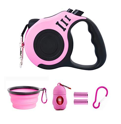 PETIMP Retractable Dog Leash Lightweight Portative 16FT Leash, with Folding Bowl,Dispenser,Rubbish Bags, for...