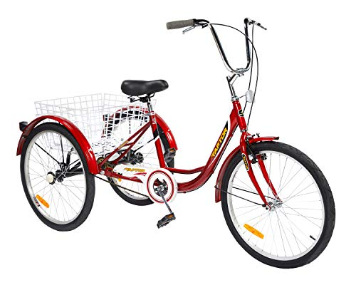 Adult Tricycles Seven Speed, Multiple Speeds, 24-inch 3-Wheels, Cargo Basket, Three-Wheeled Bicycles Cruise...