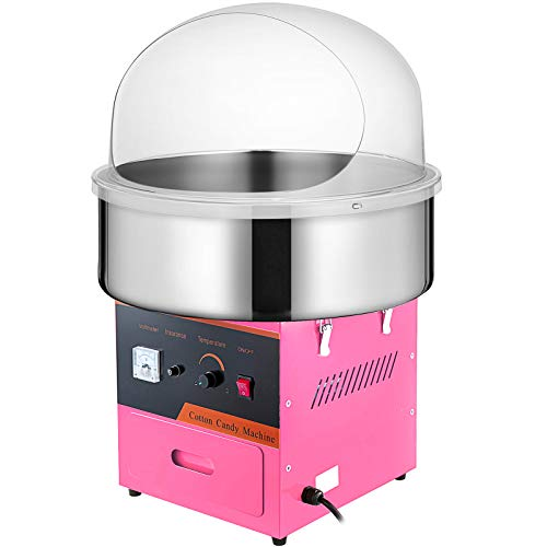 VBENLEM Commercial Cotton Candy Machine with Bubble Cover Shield Electric Candy Floss Maker 20.5 Inch Cotton...