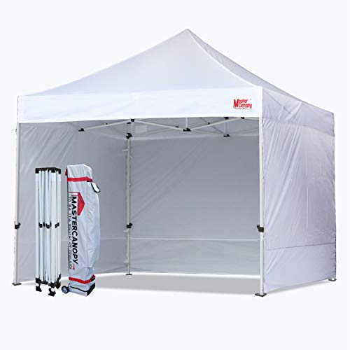 MASTERCANOPY Ez Pop-up Canopy Tent 8x8 Commercial Instant Canopies with 4 Removable Side Walls and Roller Bag,...