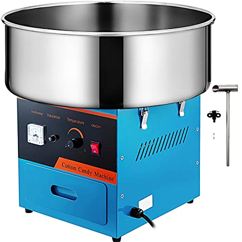 VBENLEM Commercial Cotton Candy Machine 20.5 Inch Floss Maker 1030W for Family and Various Party, Blue