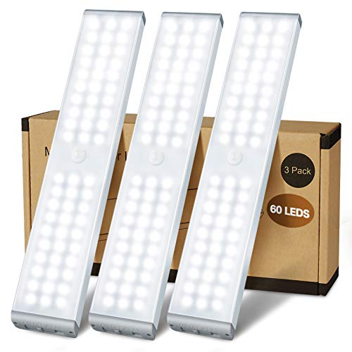 LED Closet Light, 60 LED Newest Version 4 Modes Rechargeable Motion Sensor Closet Light Under Cabinet...