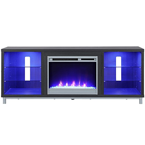 Ameriwood Home Lumina Fireplace Stand for TVs, up to 70', Black Oak