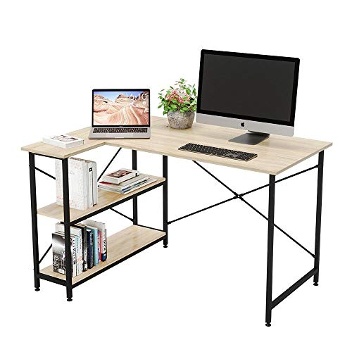 Bestier Small L-Shaped Desk with Storage Shelves 47 Inch Corner Desk with Shelves Writing Desk Table with...