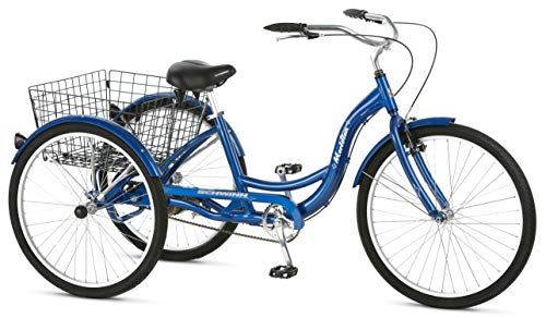 Schwinn Meridian Adult Tricycle with 26-Inch Wheels in Blue, with Low Step-Through Aluminum Frame, Front and...