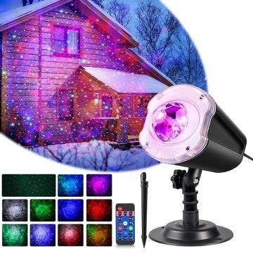 LYRABAY Christmas Outdoor Projector Laser Lights, Meteor Shower with Ocean Wave, LED Light Proejctor for...