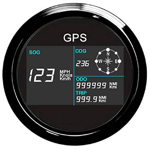 ELING Universal Digital GPS Speedometer Odometer Adjustable for Auto Marine with GPS Antenna 7 Back-Lights...