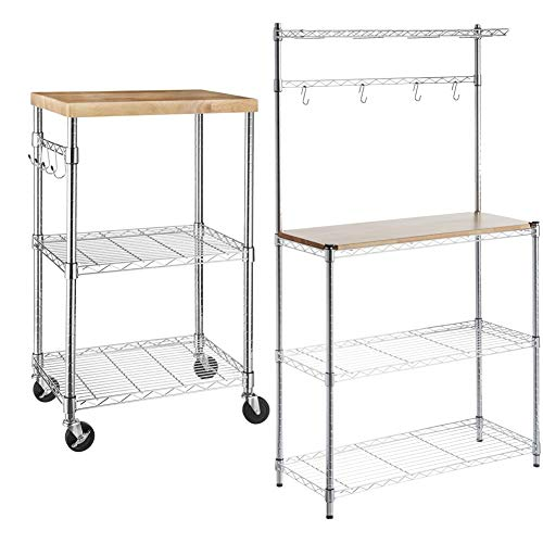 AmazonBasics Kitchen Storage Baker's Rack with Table, Wood/Chrome - 63.4' Height & Kitchen Rolling Microwave...