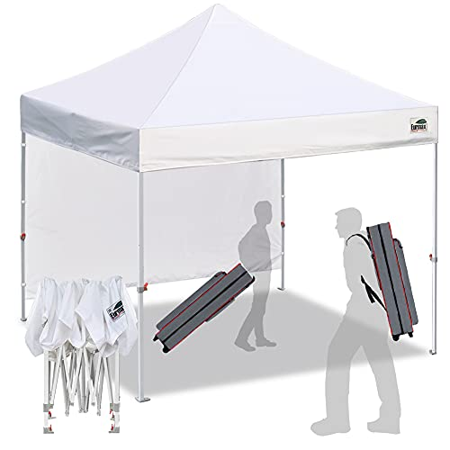Eurmax Smart 10'x10' Pop up Canopy Tent Canopy with 1 Side Wall Outdoor Festival Tailgate Event Vendor Craft...