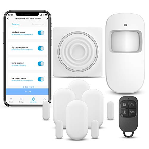 WiFi Security System WiFi Alarm System Kit Compatible with Alexa,APP Control and Message Alert Function,1 PIR...