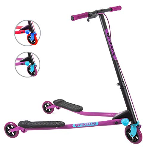 Yvolution Y Fliker Air A3 Kids Drifting Scooter | Swing Scooter for Boys and Girls Age 7+ Years (Purple),...